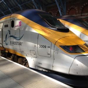 Лондонский вокзал St.Pancras скоростной поезд Eurostar соединяющий Англию с Европой, Франция, Бельгия